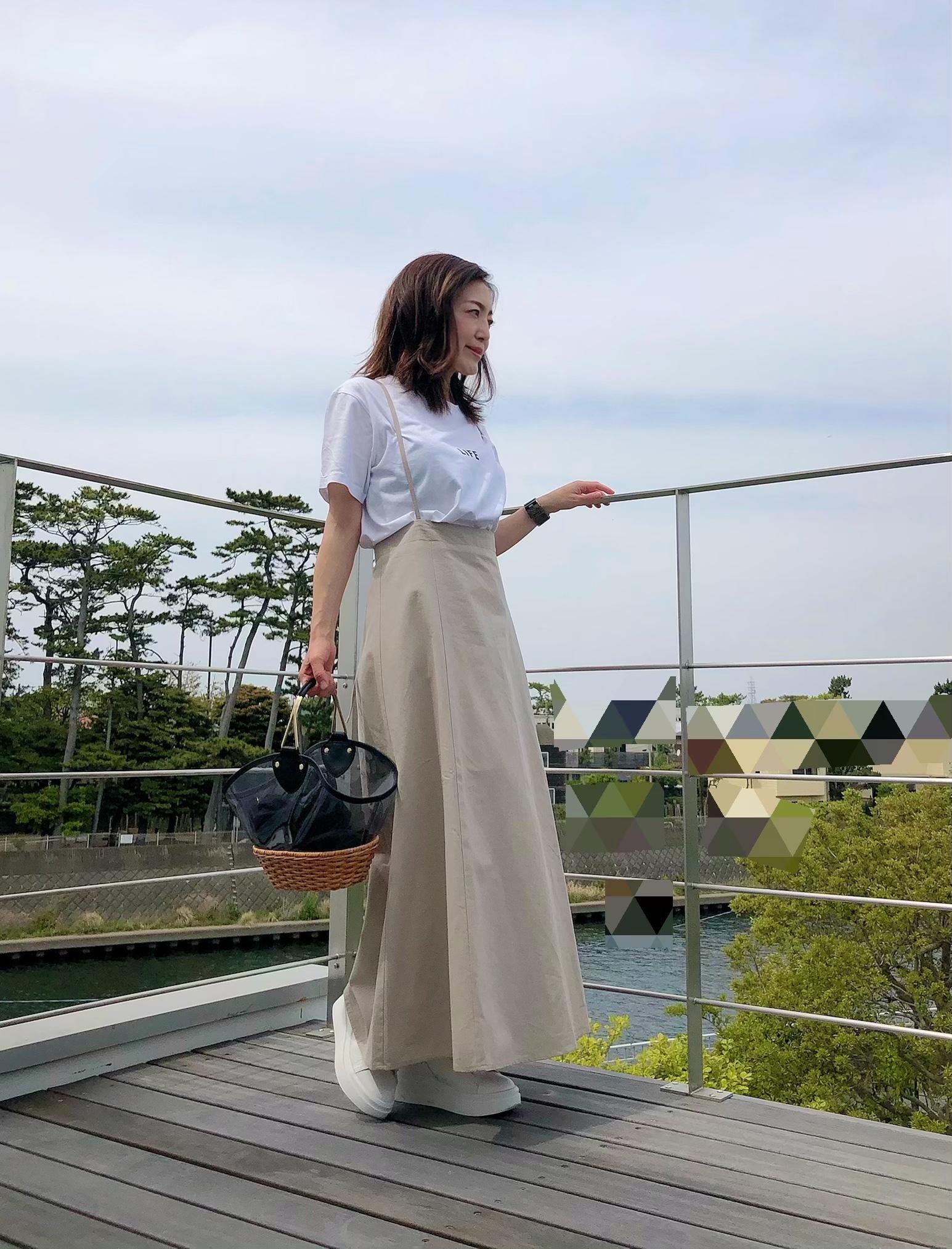 サスペンダースカートとロゴT&ちょい巻きヘア_1_1