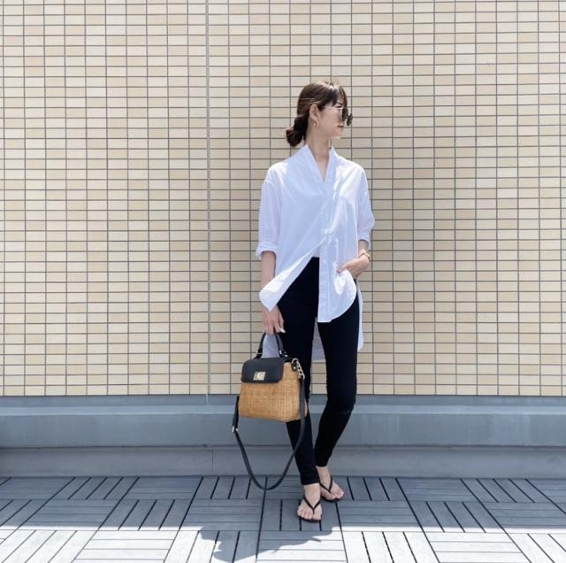 OOTD: ロングシャツのモノトーンコーデ【40代 私のクローゼット】_1_1
