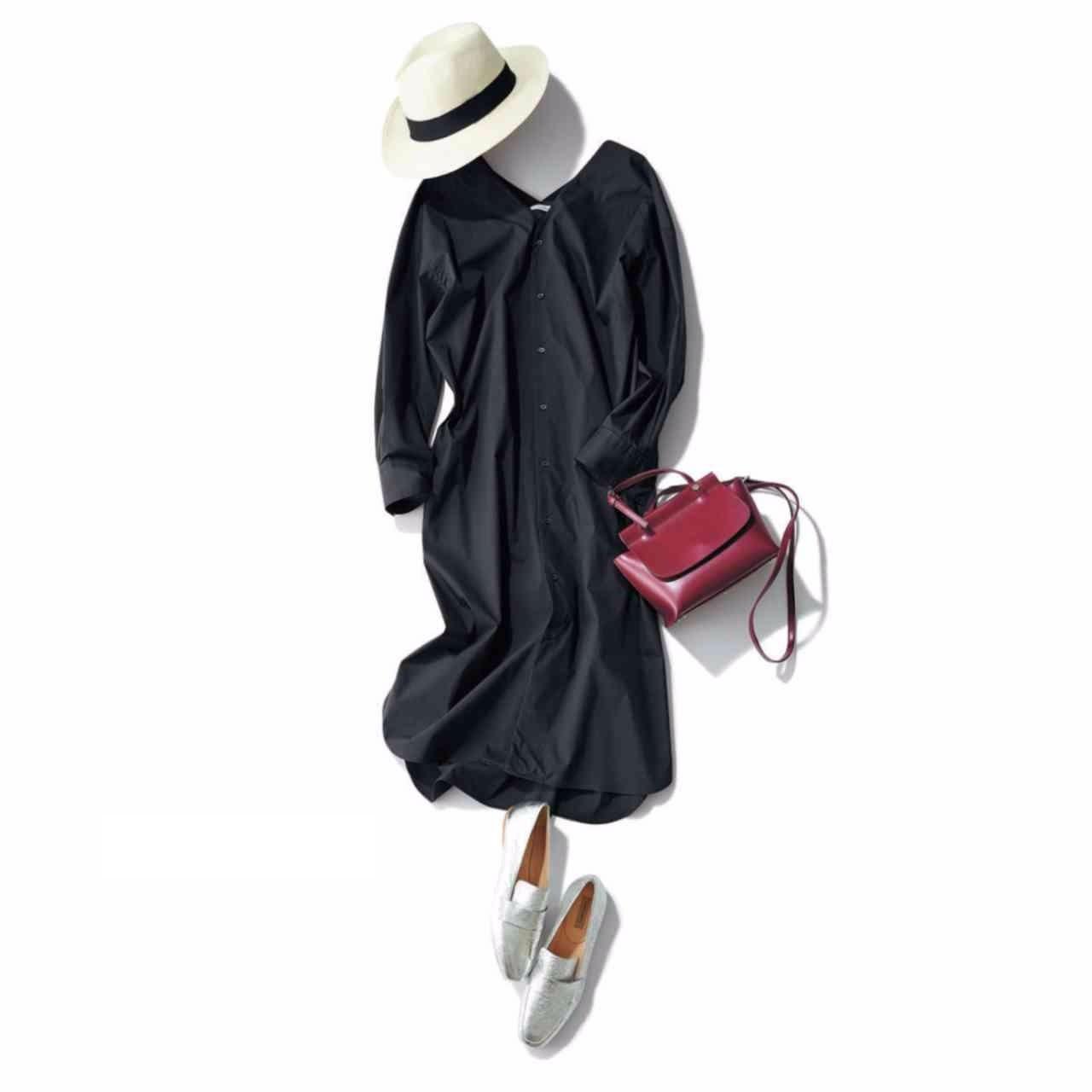 ドレスシャツワンピース×帽子コーデ