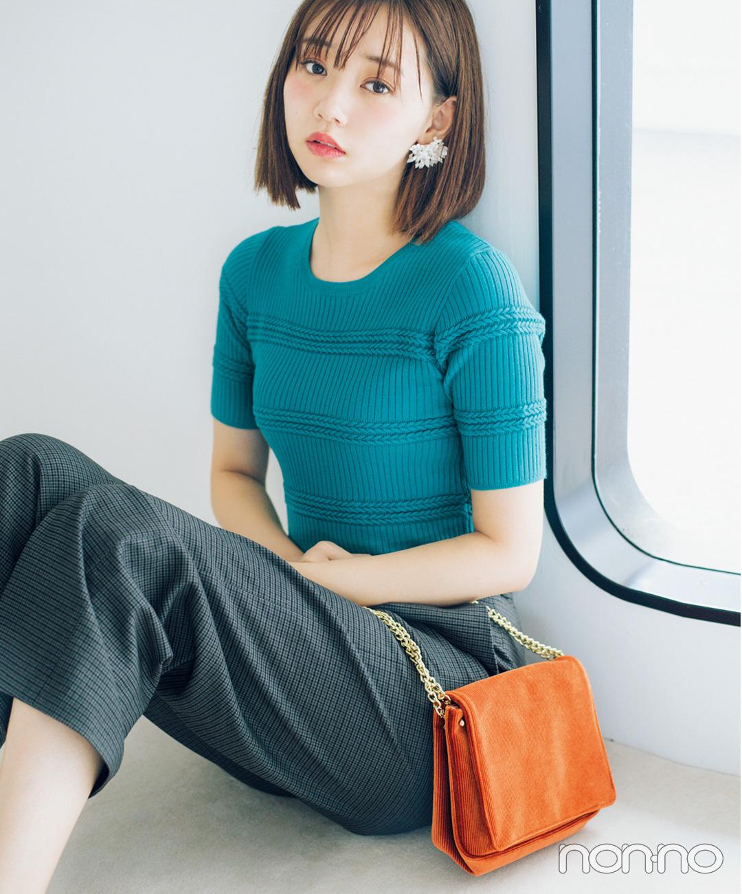 【チェックコーデ】江野沢愛美は、チェックパンツをターコイズのトップスで女子力UP