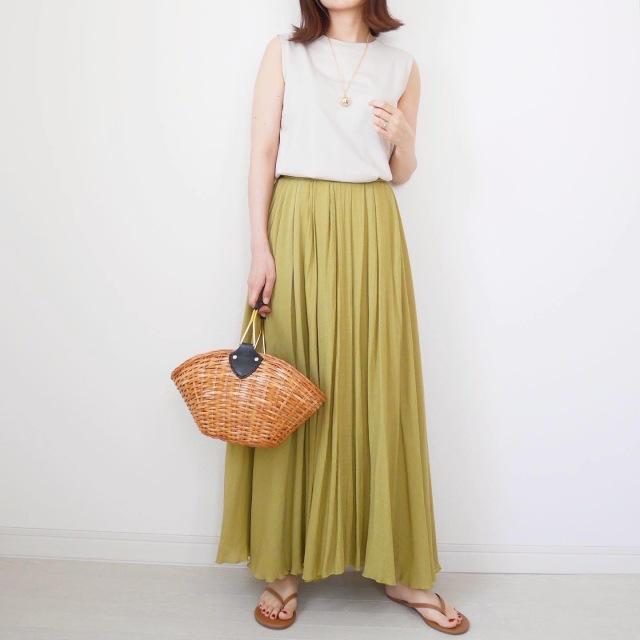 楽して女っぽい!アラフォーこそロングスカートの夏【tomomiyuコーデ】_1_3