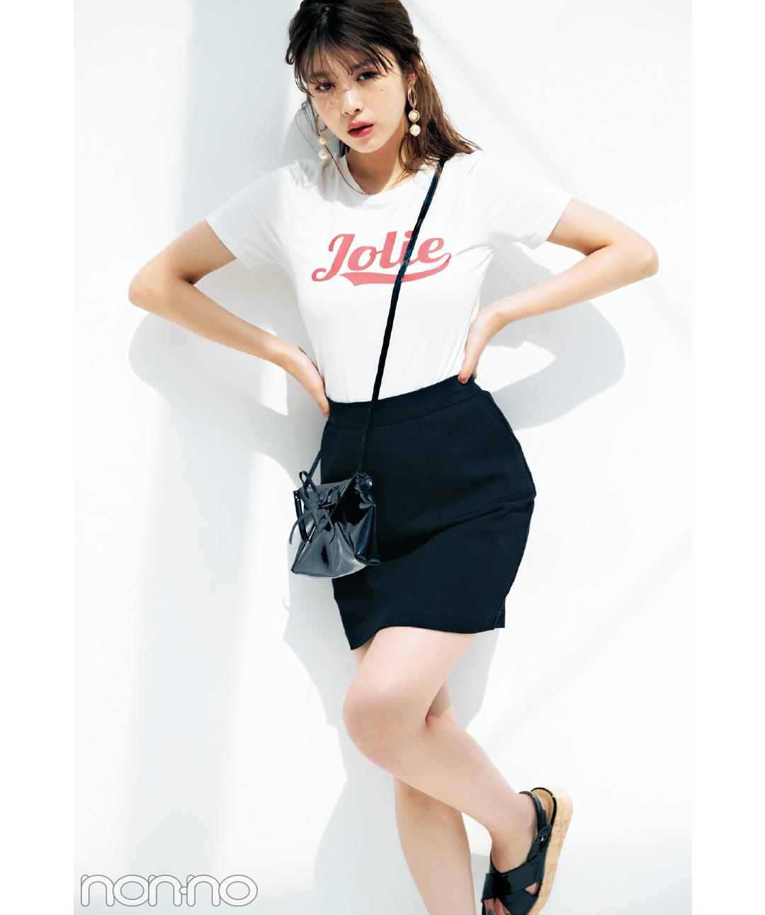 dazzlinのロゴTシャツで女っぽコーデ♡馬場ふみかが5通りに着回し!_1_3-4