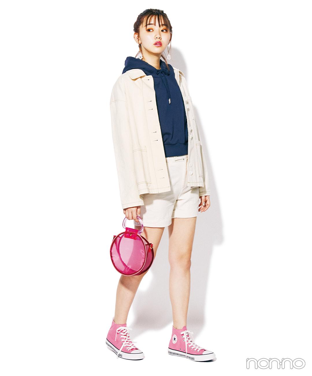 【春→夏ショートパンツコーデ】アイボリーのジャケット×ショートパンツ