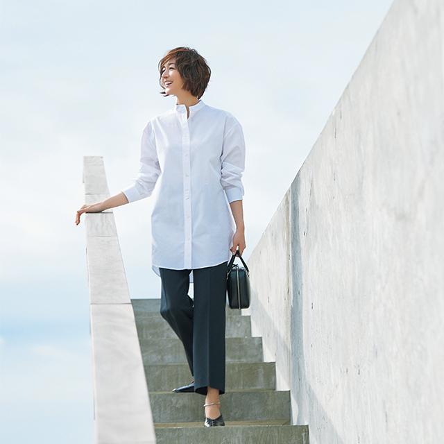 富岡佳子と考える大人の白シャツ