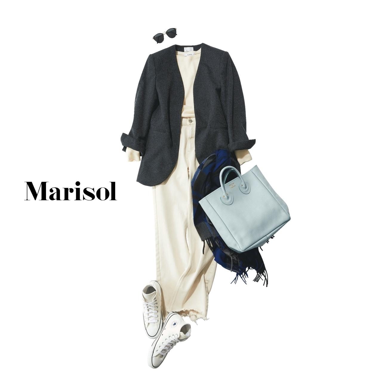 40代ファッション ジャケット×白デニム×白スニーカーコーデ