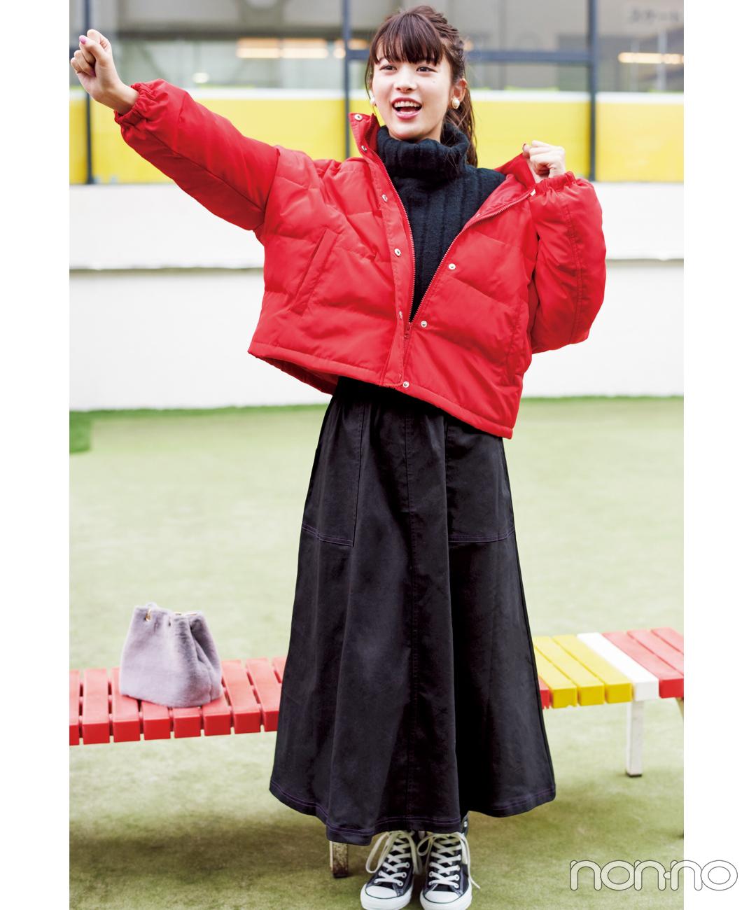 【冬のスニーカーコーデ】ロングスカートなら可愛さと防寒も叶う。ショート丈のアウターでバランスUP