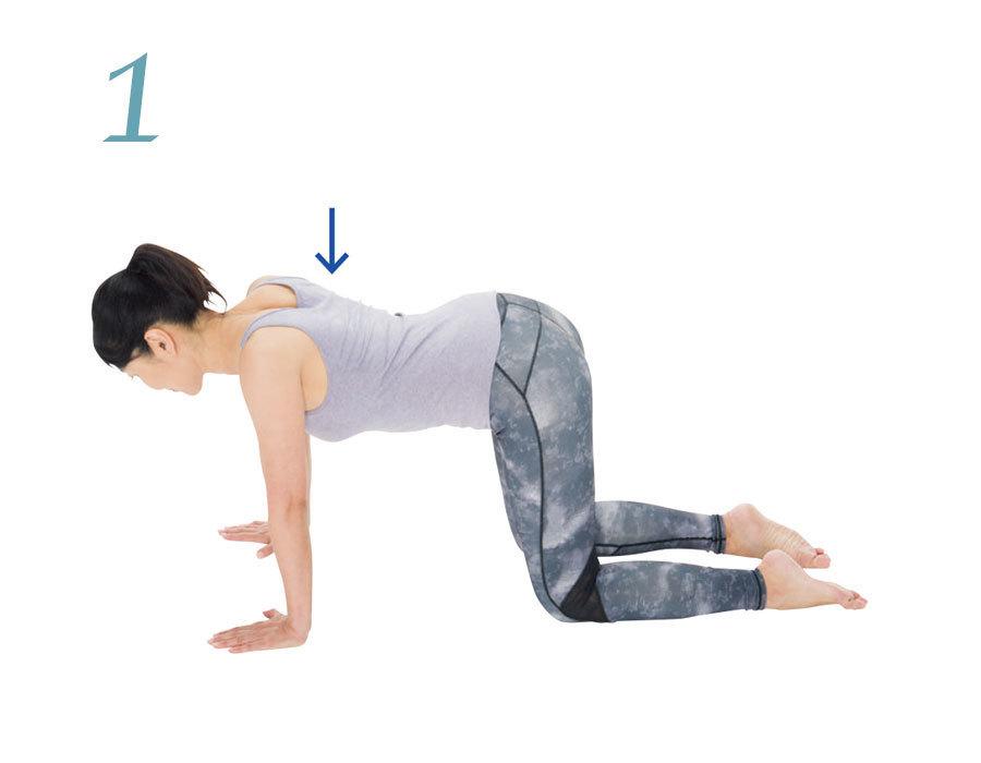 体幹と肩甲帯を別々に動かせるようにする2:肩甲骨の押し引きのやり方1