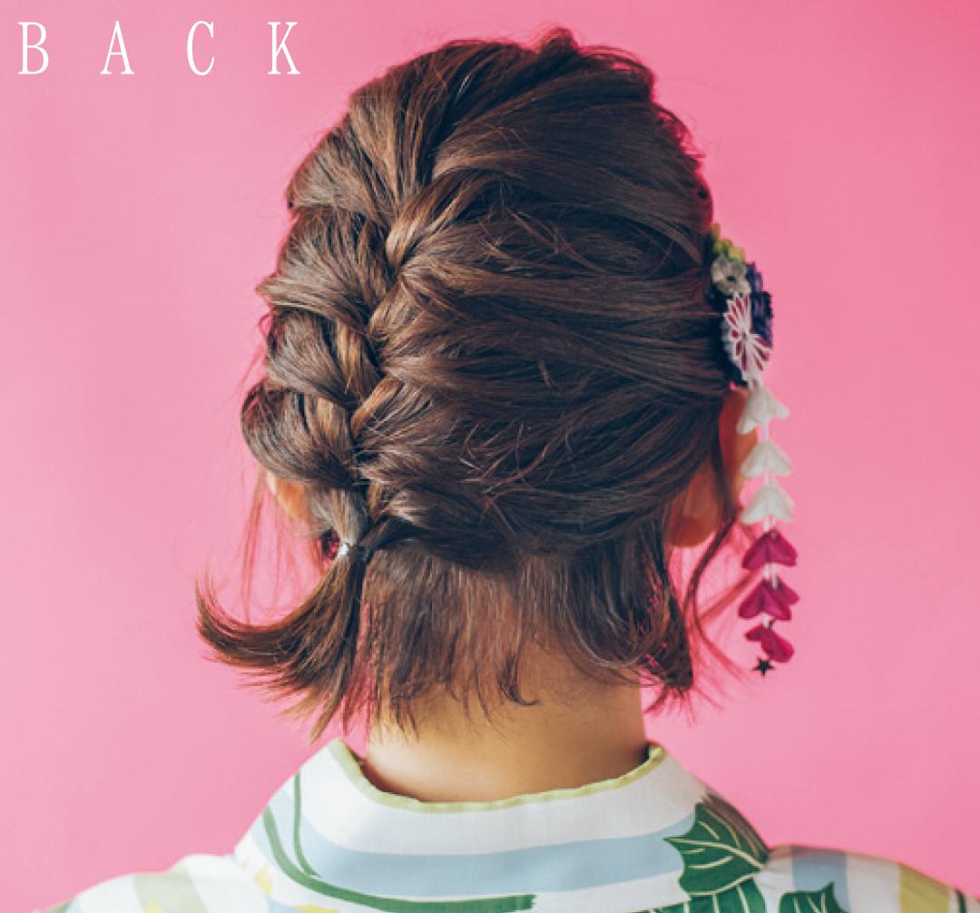 ゆかたの髪型・ボブのまとめ髪&和装小物アレンジ【ゆかたの着付けと髪型】_1_3-2