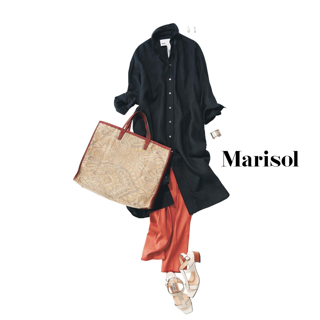 40代ファッション ロングシャツワンピース×カラーパンツコーデ