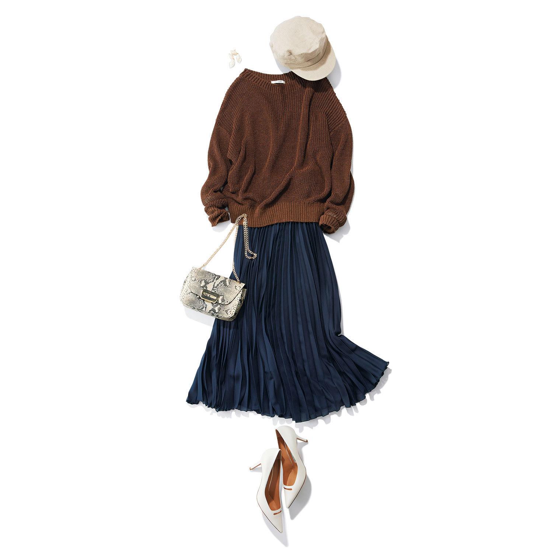 ■サマーニット×ネイビーのプリーツスカートコーデ
