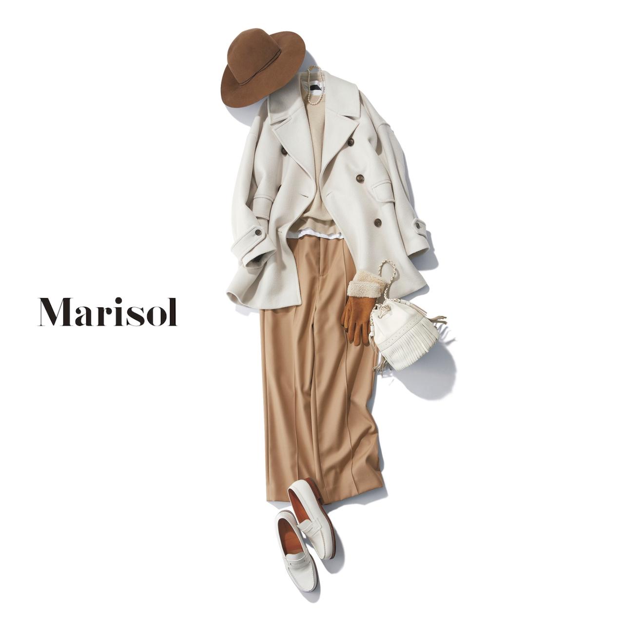 40代ファッション Pコート×ニット×パンツ×ローファーコーデ