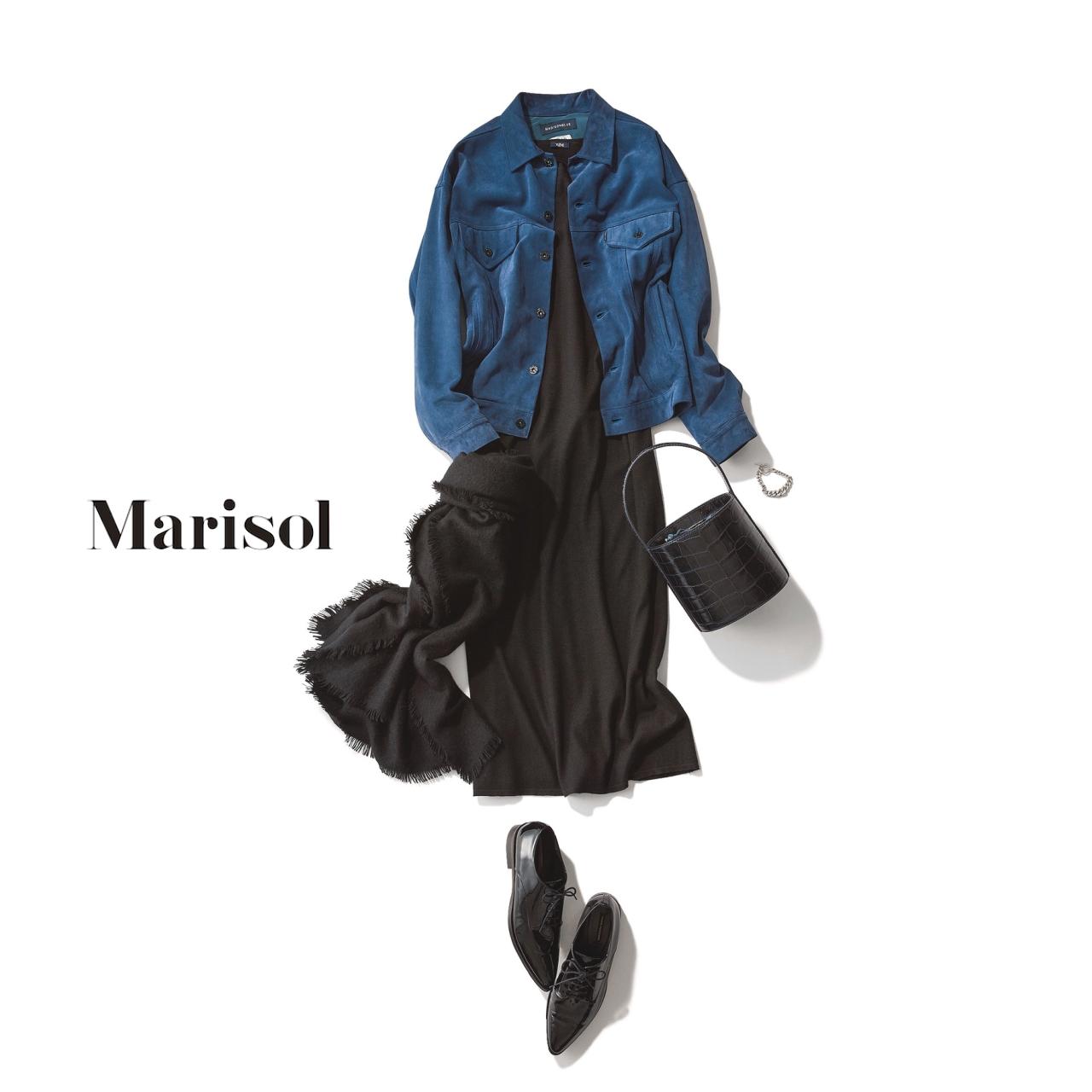 40代ファッション スエード素材のジャケット×黒ニットワンピース コーデ