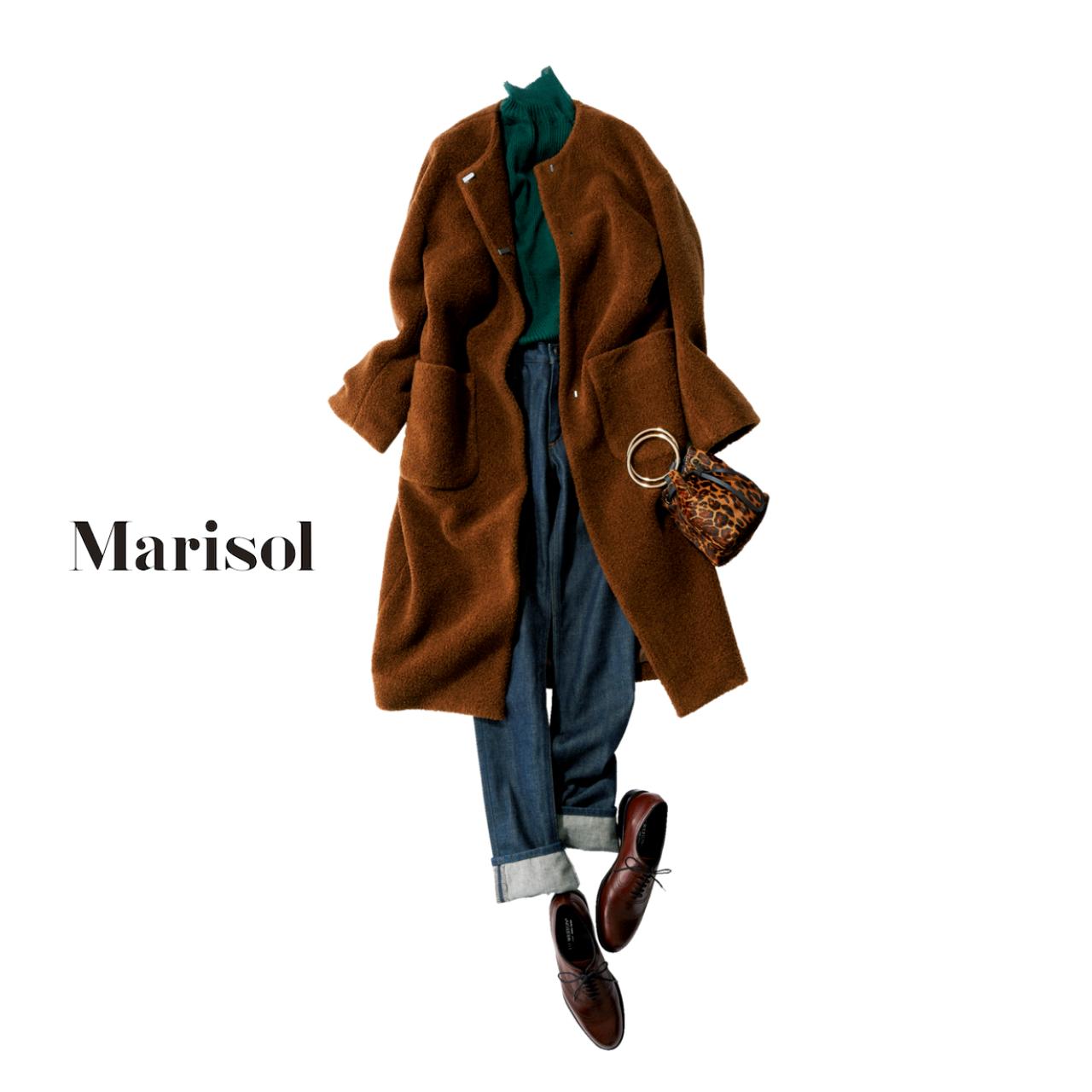 40代ファッション ブラウン色コート×デニムコーデ