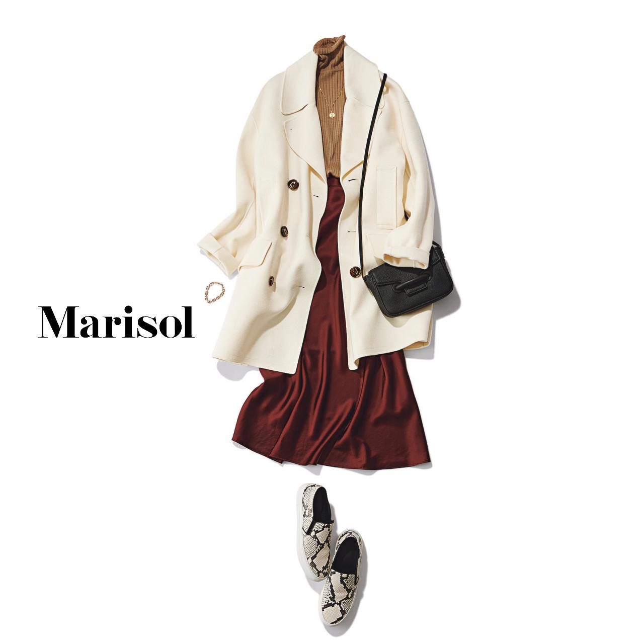 40代ファッション  アイボリーコート×タートルネックニット×スカートコーデ