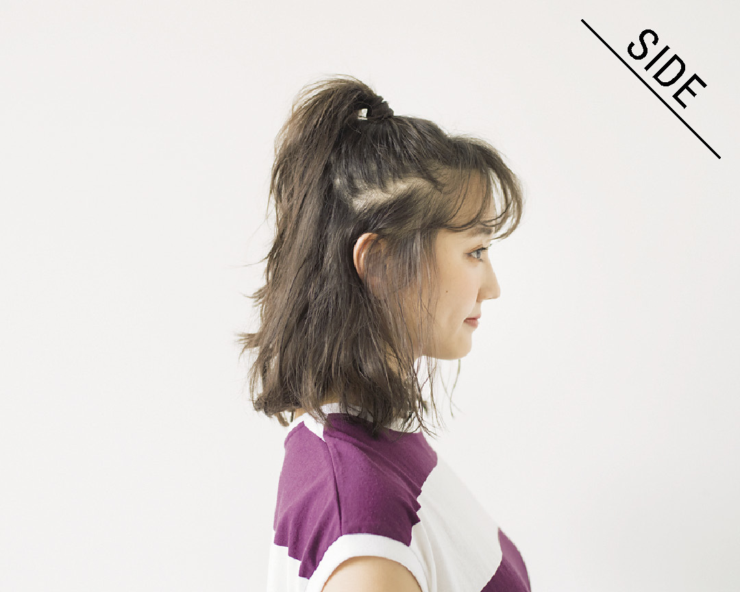 ミディアムのおうちデート、#彼女感ヘアアレンジは高めハーフアップ!_1_3-4