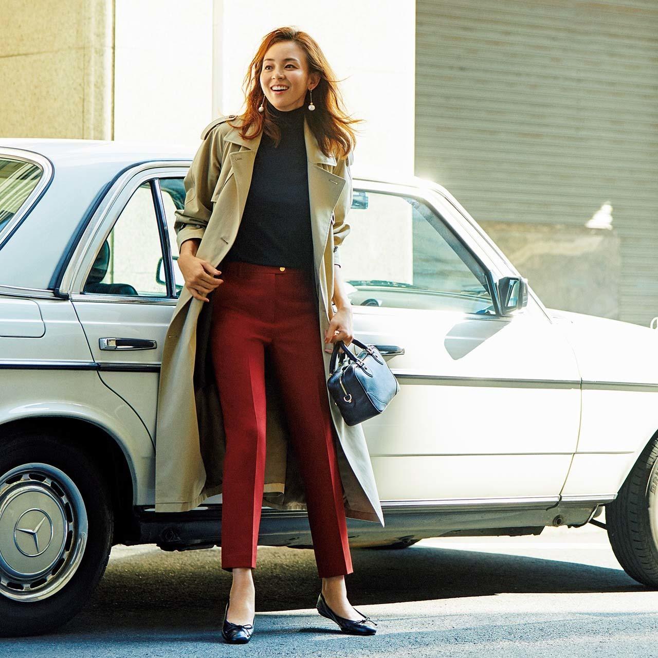 パンツ×トレンチコートのファッションコーデ