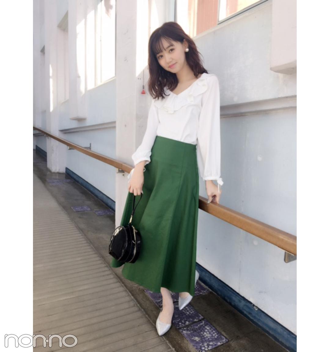 江野沢愛美は大人グリーンのスカートで洗練フェミニン♡ 【毎日コーデ】_1_1