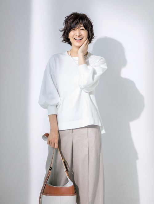 富岡佳子×Lâchement パフスリーブTシャツ ¥16,500