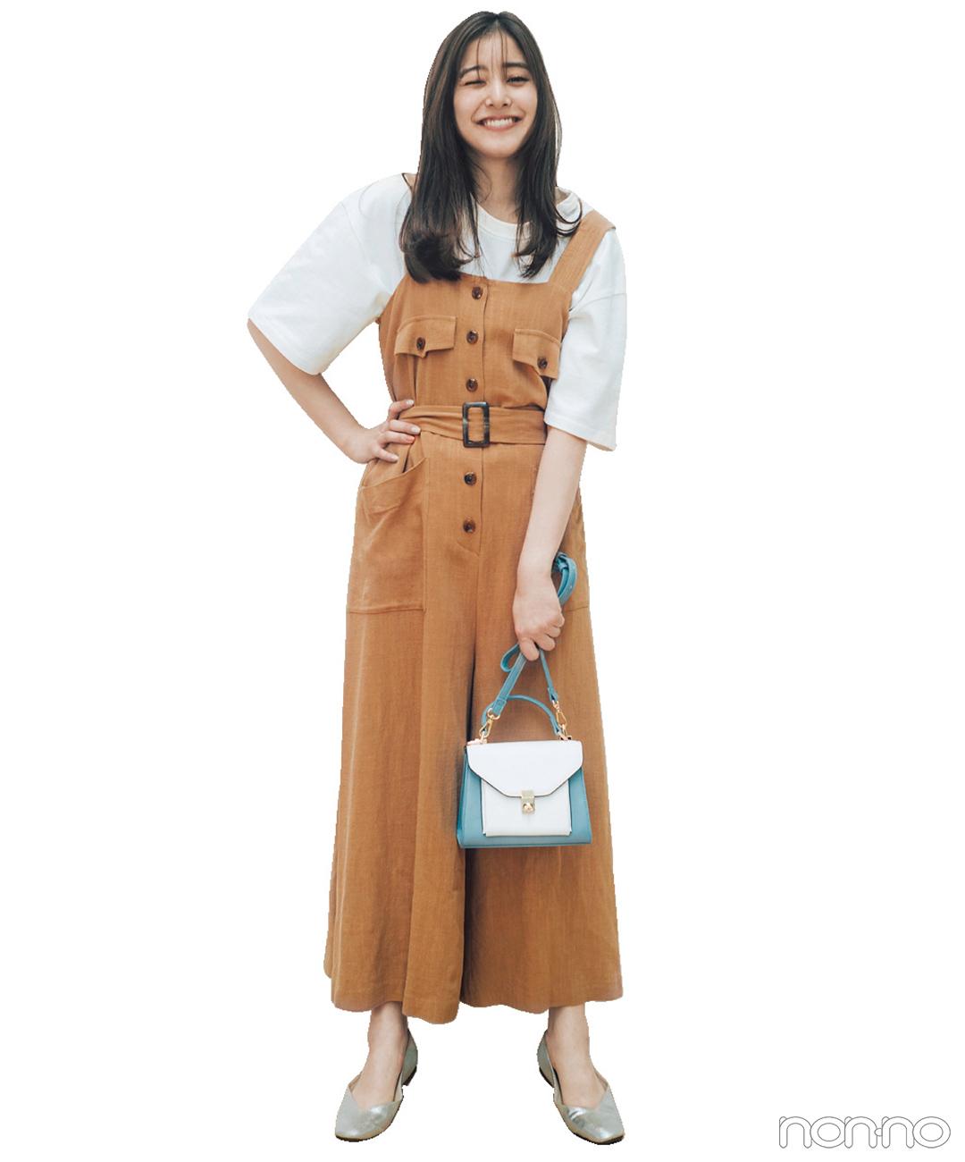 新木優子はベージュのオールインワンにゆる白Tシャツで抜け感を【毎日コーデ】_1_1