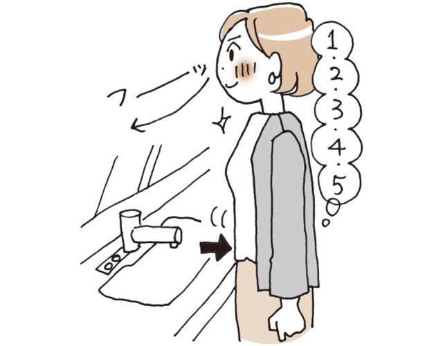 おなかをへこませながら、5秒でゆっくりと鼻から息を吐く。2〜5を5回繰り返す。