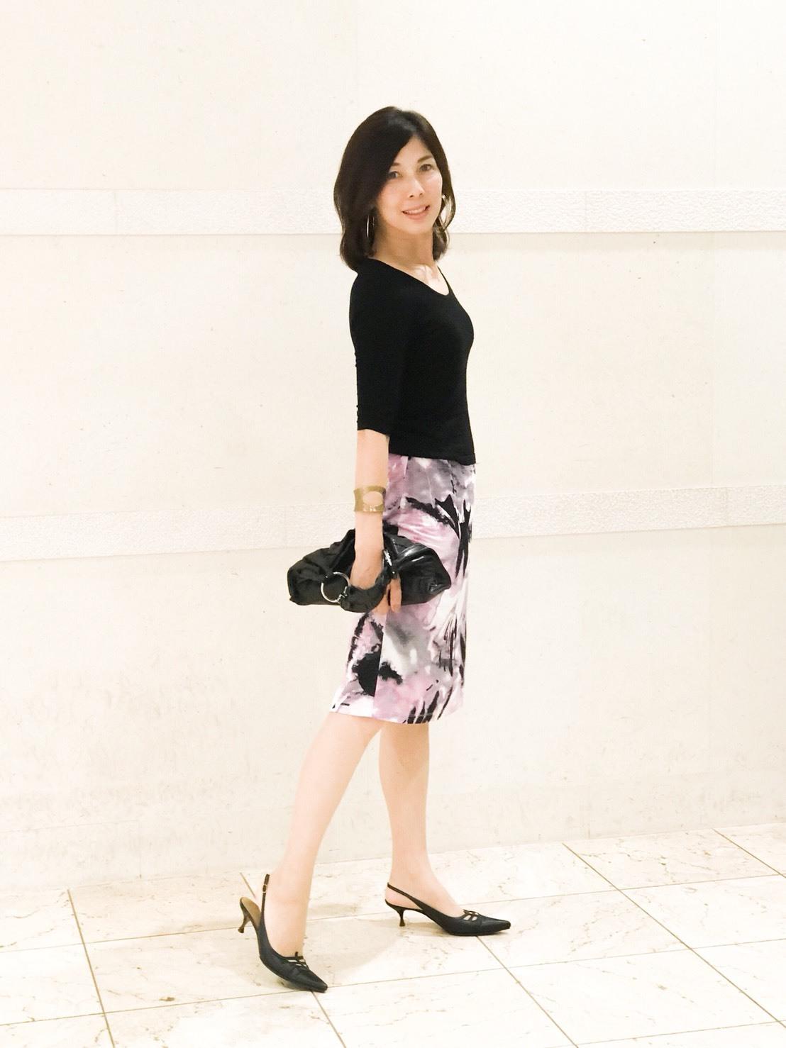 私の華出しコーデ、柄スカートが主役_1_1