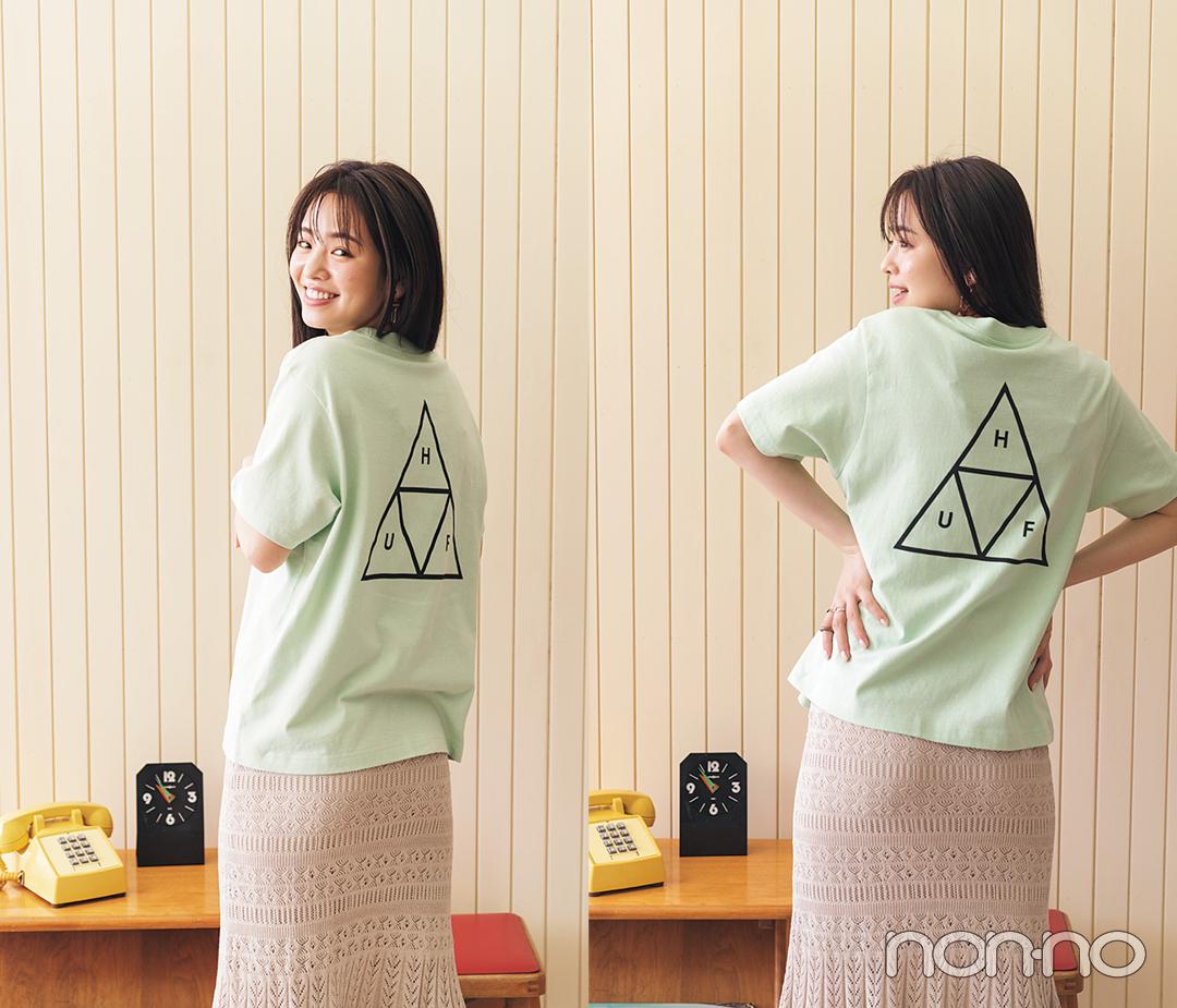 横田真悠が着るバックロゴTシャツコーデ12