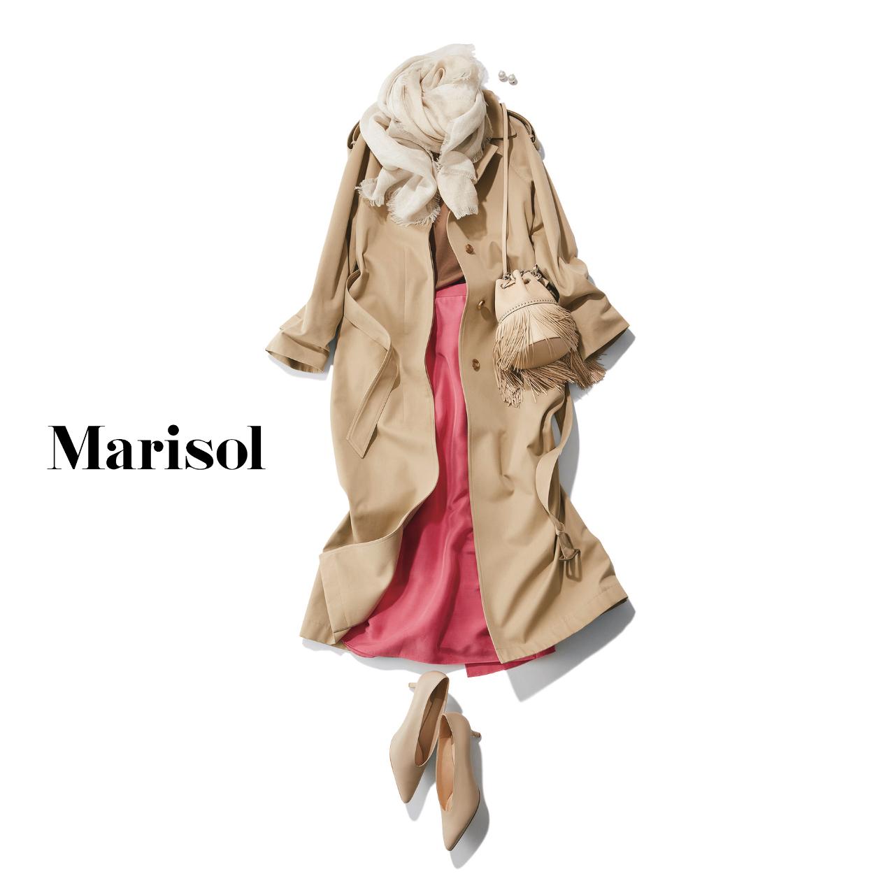 40代ファッション  トレンチコート×ピンクスカート×ストールコーデ