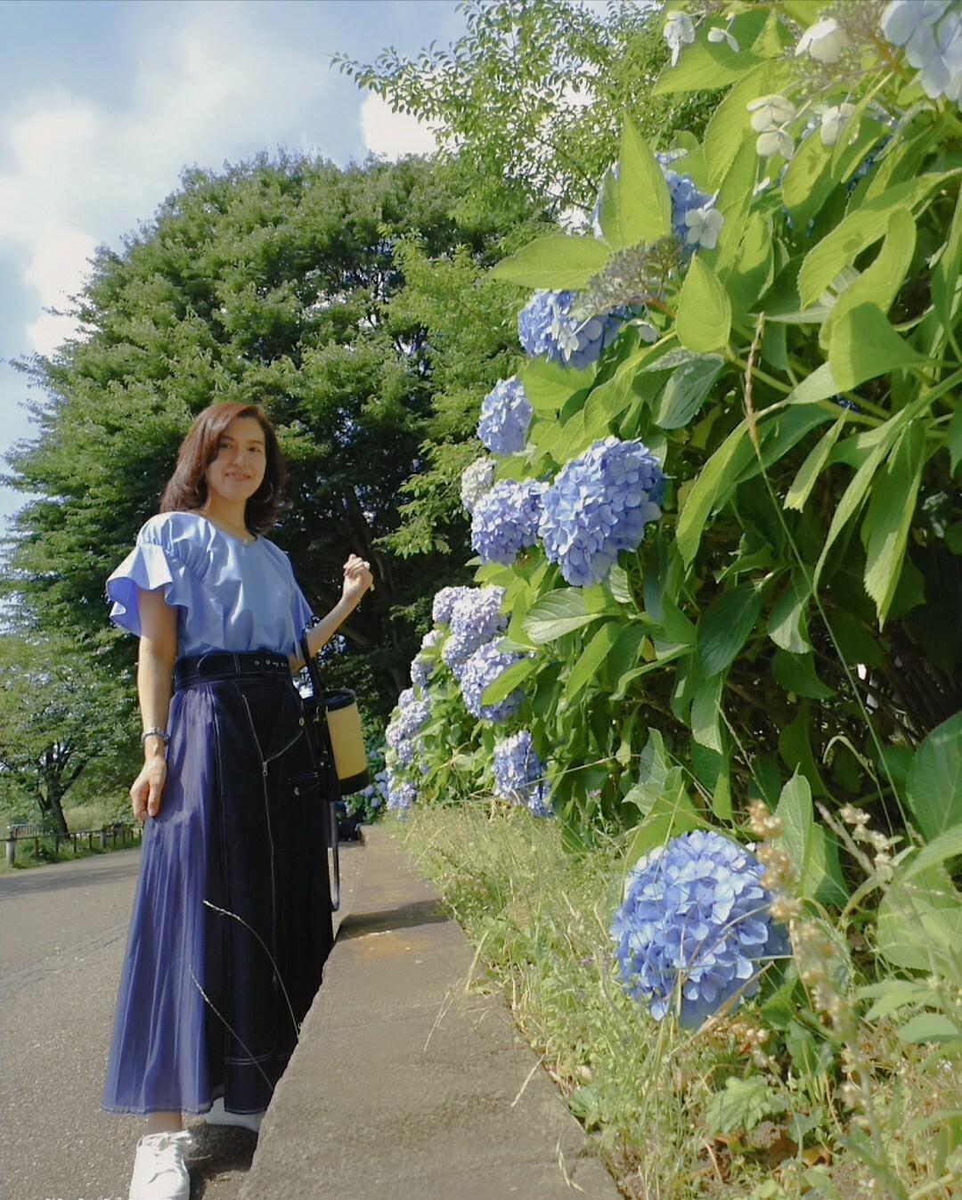 お洋服とピッタリの色味 紫陽花がキレイに咲いていて思わず並んで写真を