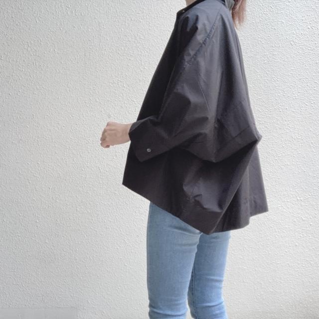 スーピマコットンドルマンスリーブシャツ(Black Sサイズ)