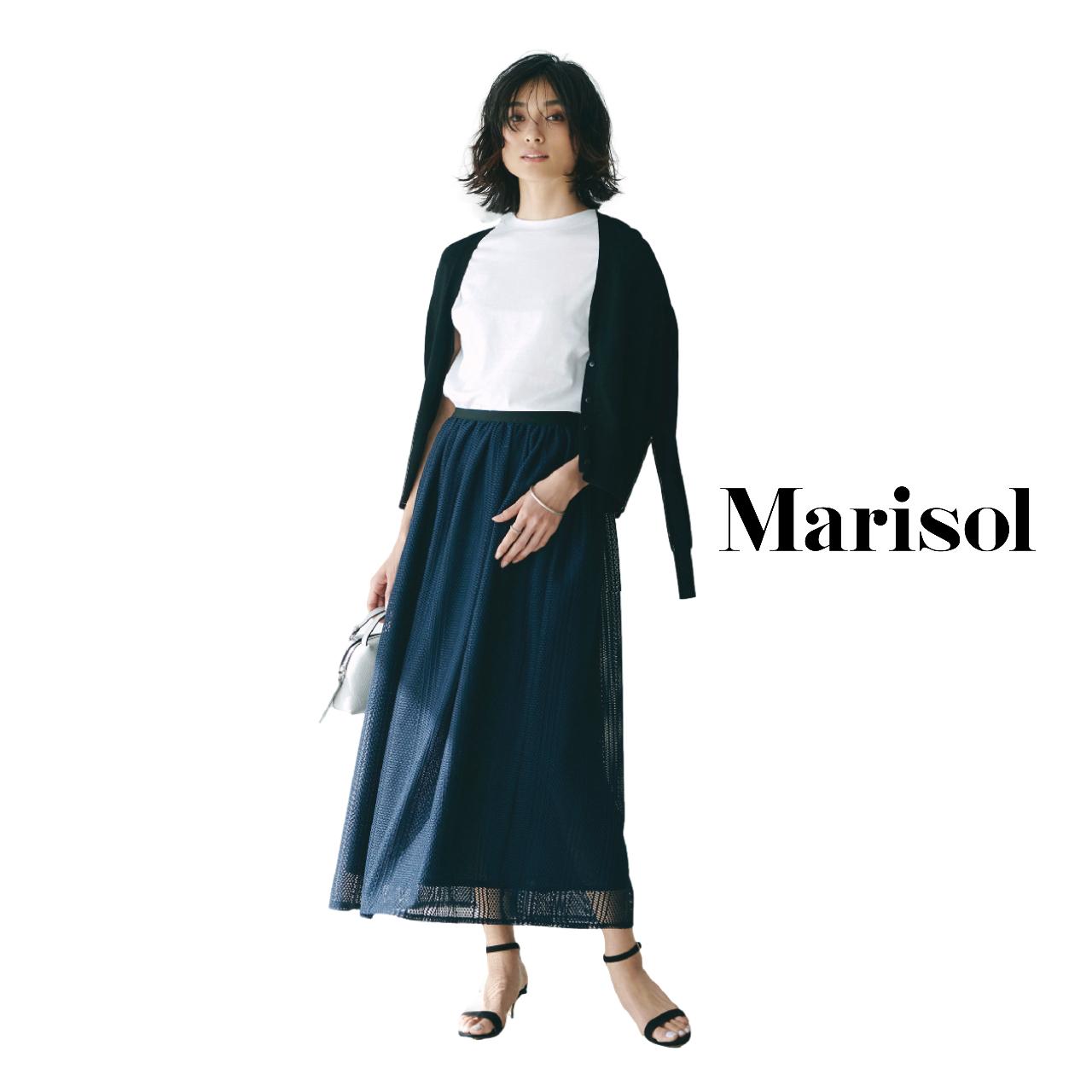 40代ファッション  カーディガン×白シャツ×ロングスカートコーデ