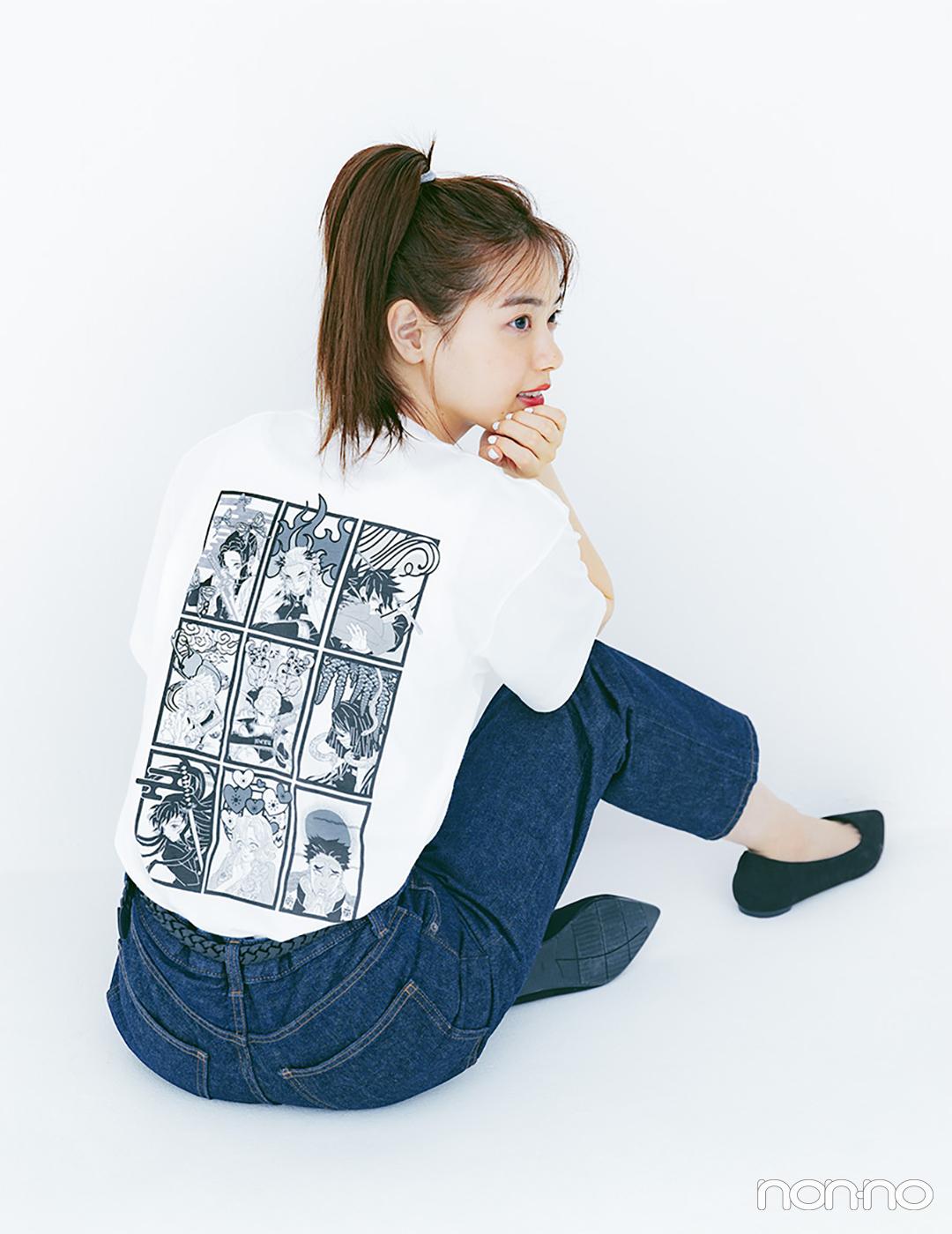 原作漫画のイラストがそのままTシャツに! 西野七瀬が着る ユニクロ「MANGA UT 鬼滅の刃」_1_10