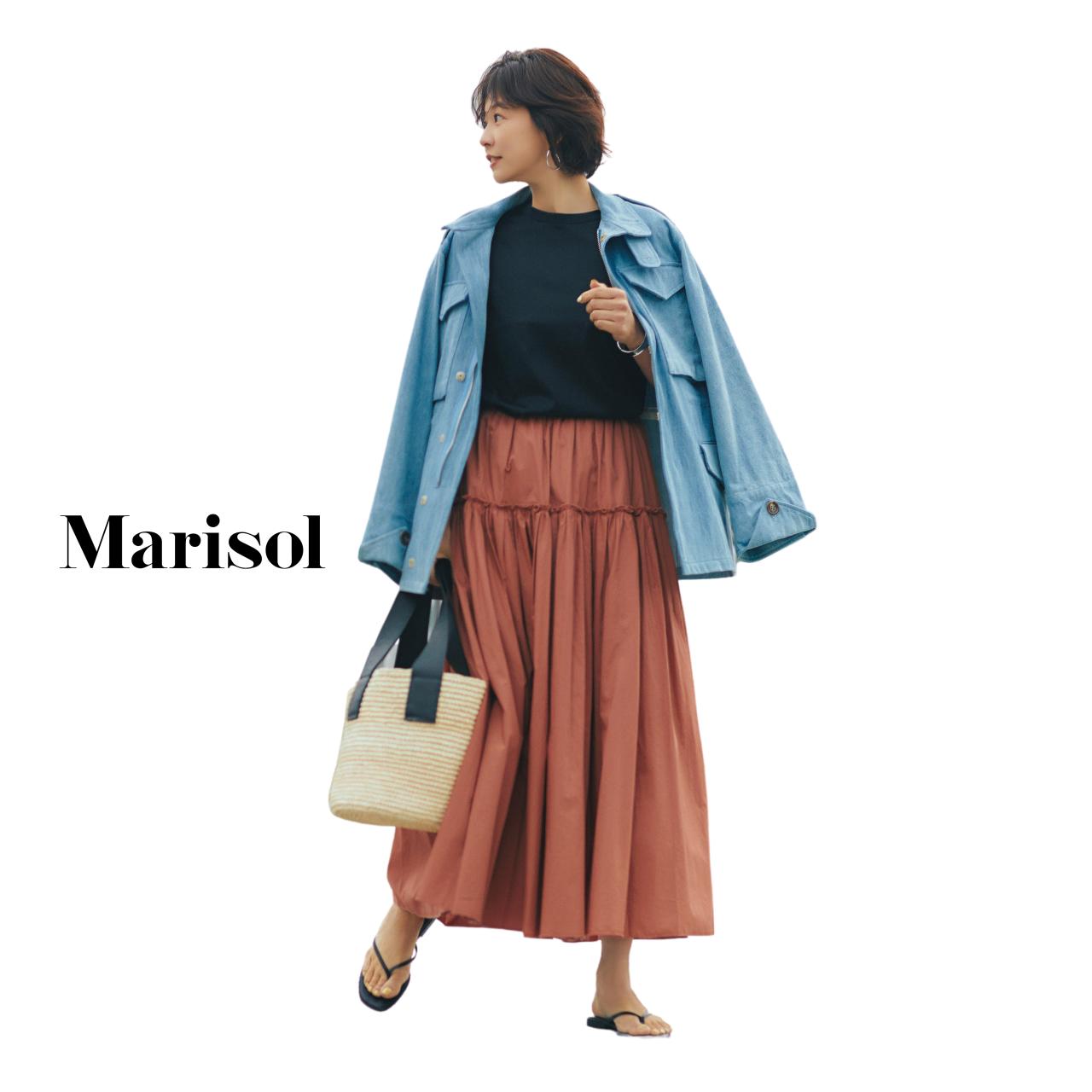 40代ファッション デニムジャケット×ロングスカートコーデ