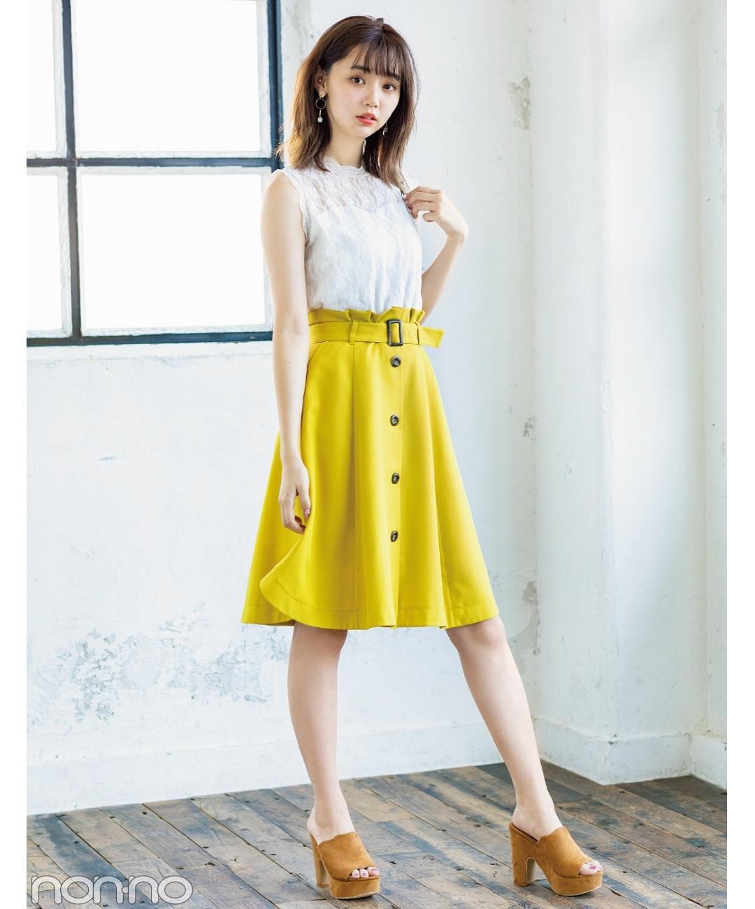 【夏のノースリーブコーデ】江野沢愛美は、前ボタンスカートで脚長コーデ