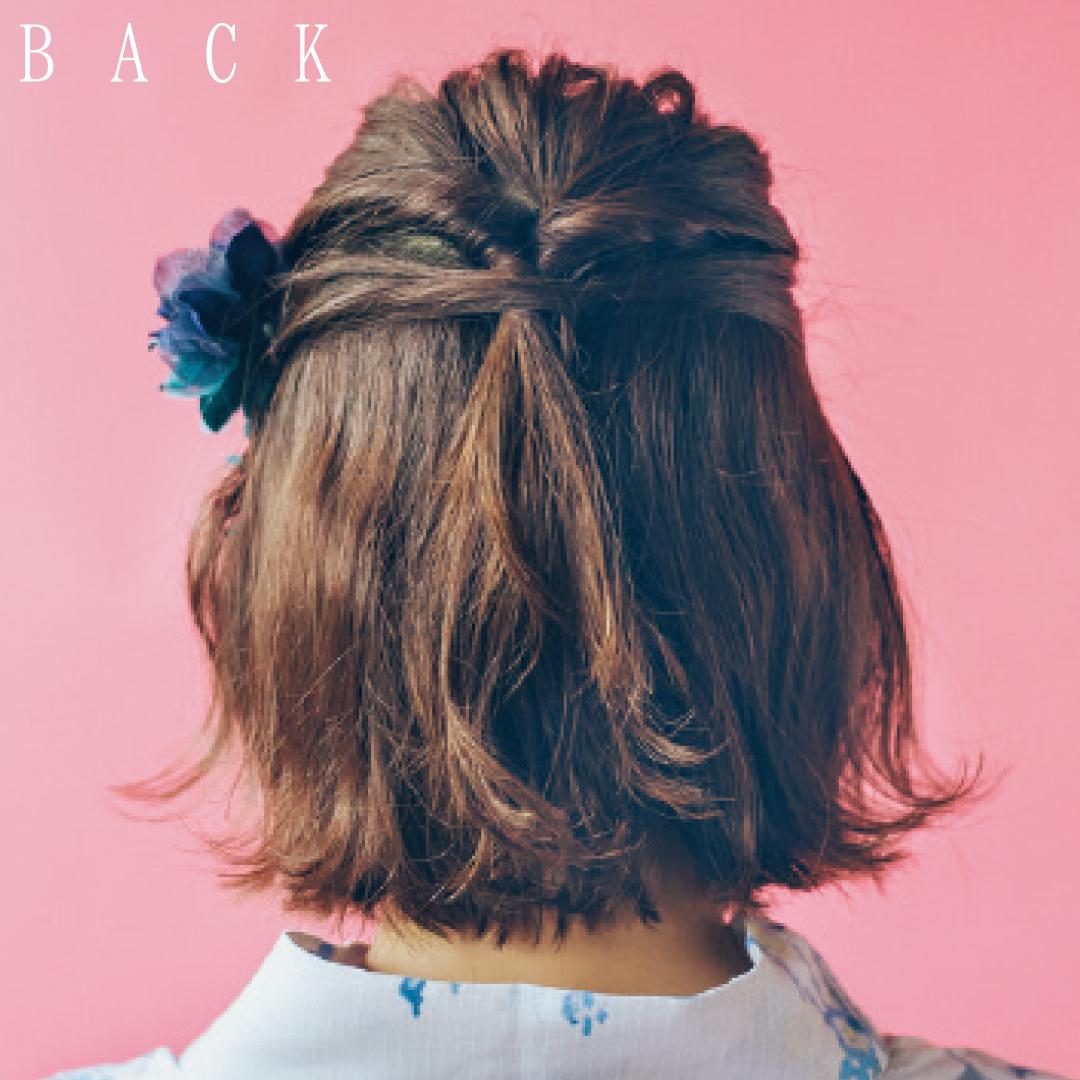 ゆかたの髪型・ボブのハーフアップスタイル♡【ゆかたの着付けと髪型】_1_3-2