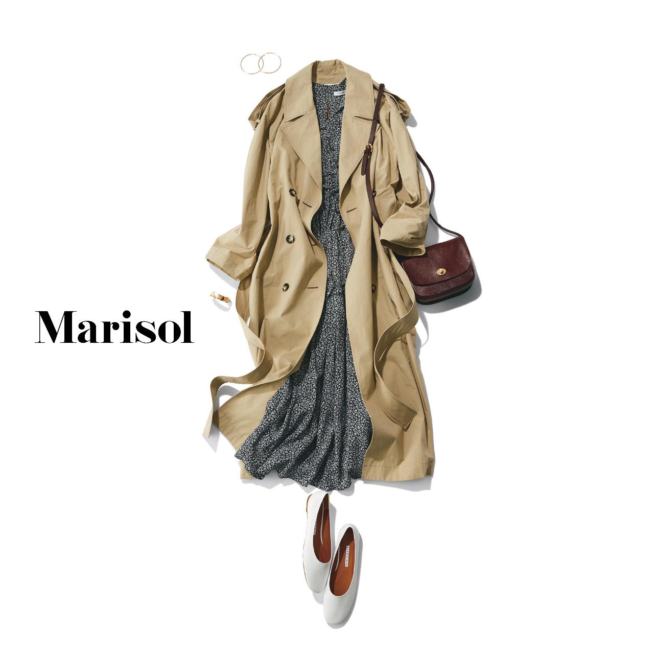 40代ファッション トレンチコート×花柄ワンピースコーデ