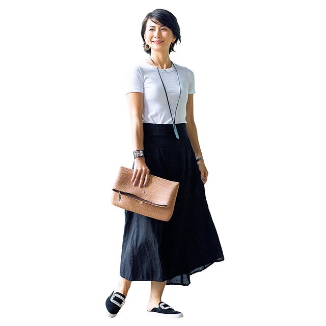 ロング丈で大人らしい上品な印象に!「Tシャツ×スカート」 五選_1_1-3