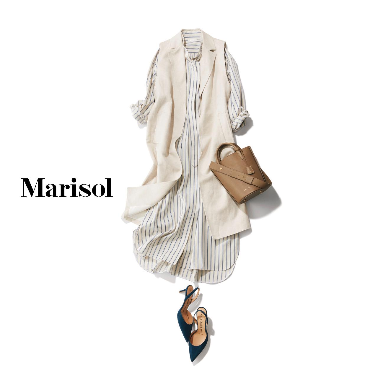 40代ファッション  ストライプシャツワンピース×白ジレコーデ