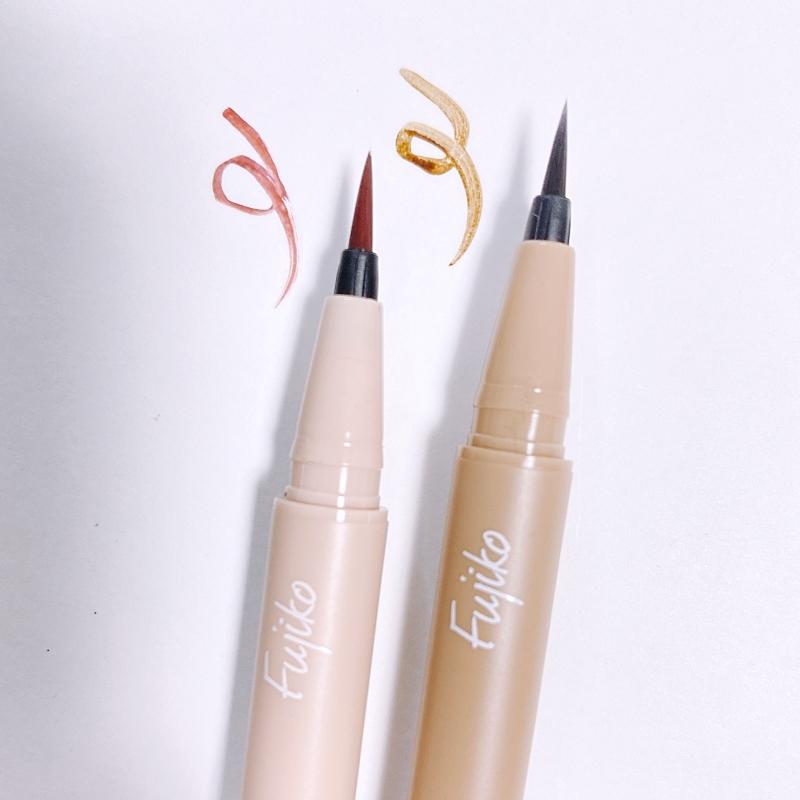 Fujikoの仕込みアイライナーの01と02はどちらも使いやすそうななじみのいいカラー
