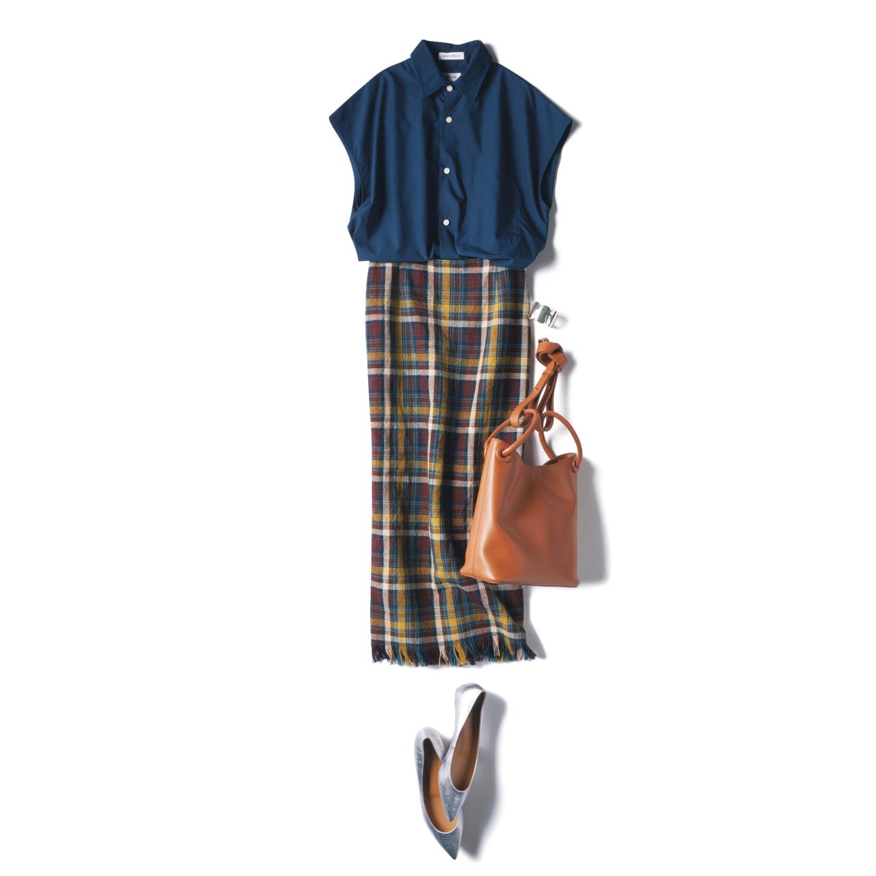 チェック柄スカートのファッションコーデ