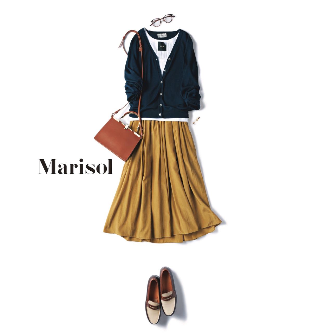 ファッション ネイビーニット×ギャザースカートコーデ