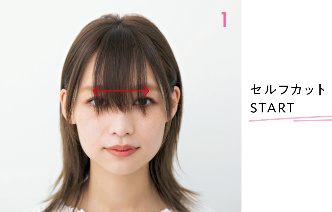 ドラッグして移動 カットするのは黒目の外側を基準に  くしゅバングは黒目の外側と外側を結んだ内側、やや広めの幅で作る。少しだけラウンド前髪にするとセットしやすくなる。 セルフカットSTART