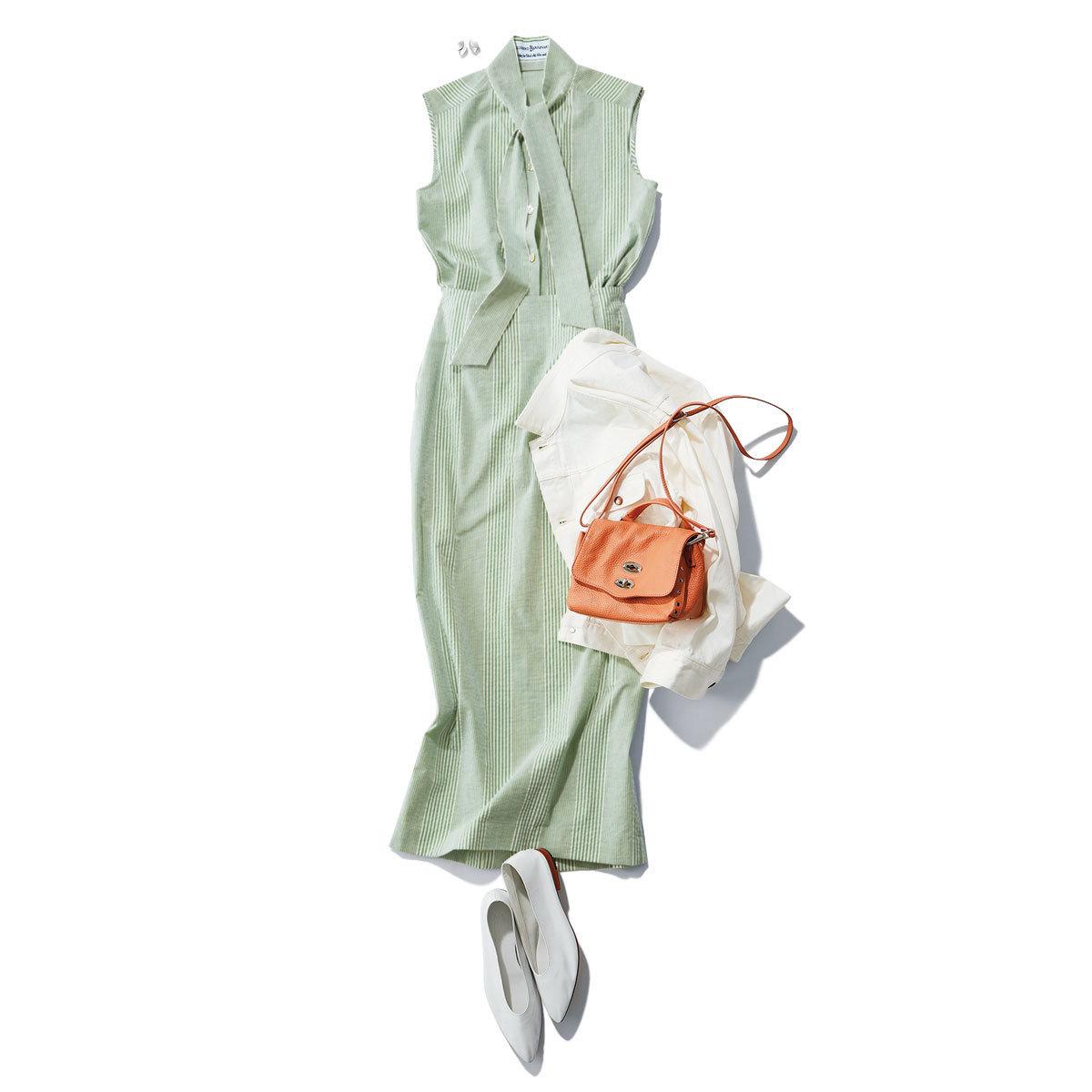 ■ライトグリーンのノースリーブとタイトスカートのセットアップコーデ
