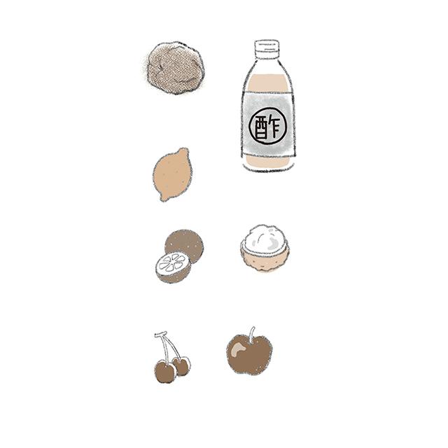 梅干し、酢、レモン、かぼすなどのかんきつ類、 ライチ、りんご、さくらんぼなど