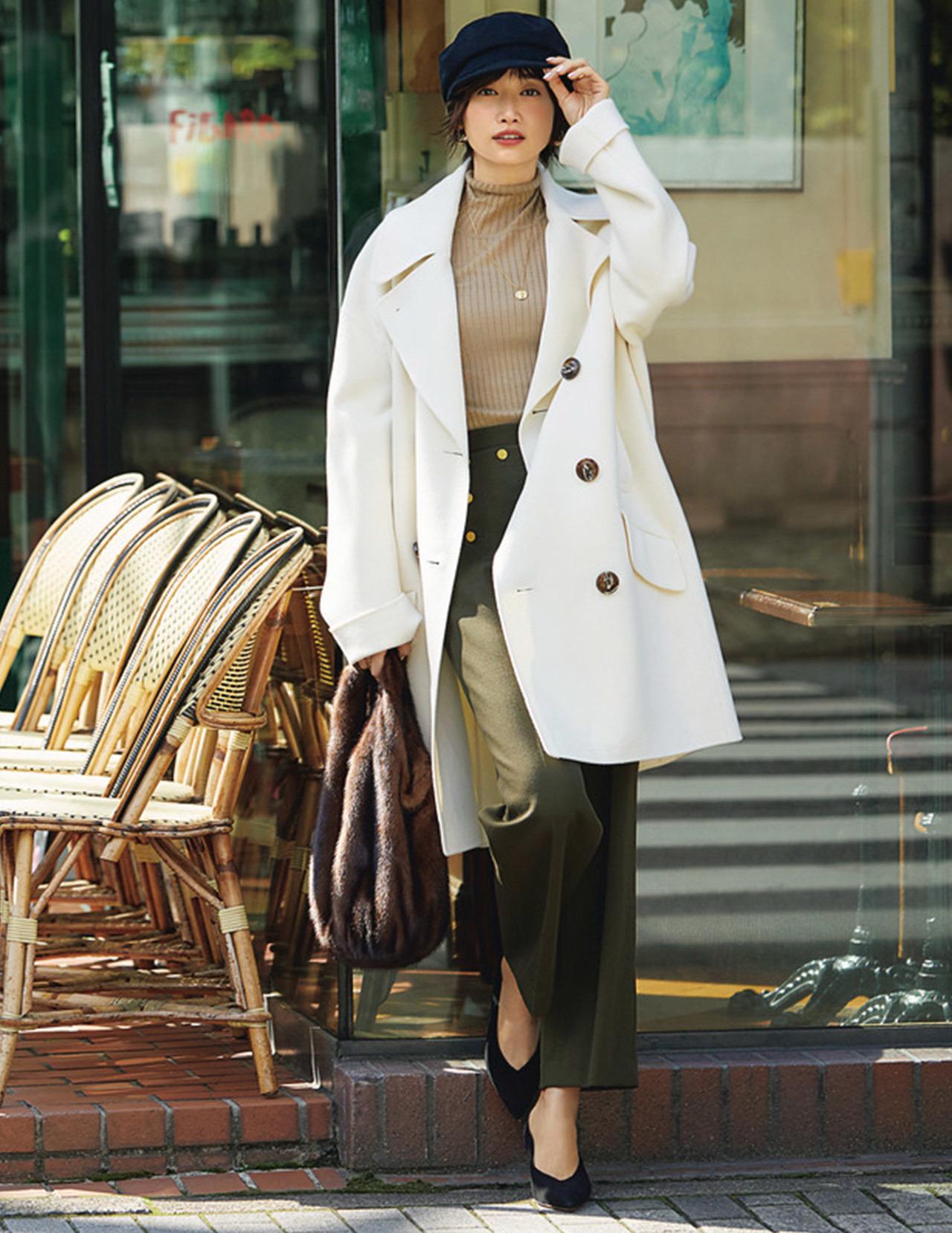 オーバーサイズのPコートを主役に王道のフレンチシック着こなし