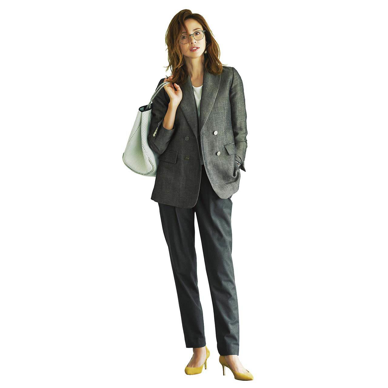 ファッション 細身パンツ×ジャケットコーデ