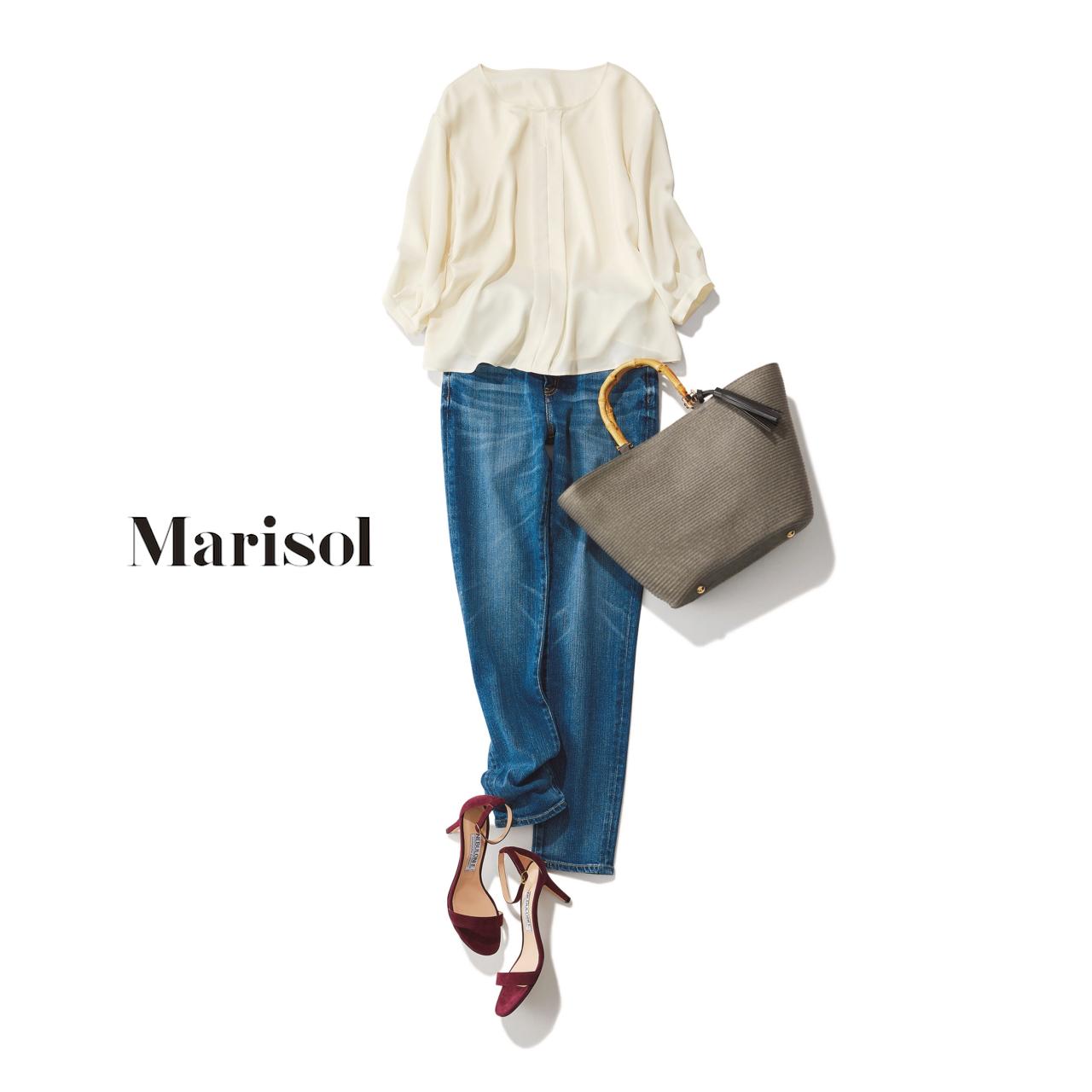 40代ファッション 白ブラウス×デニムパンツコーデ