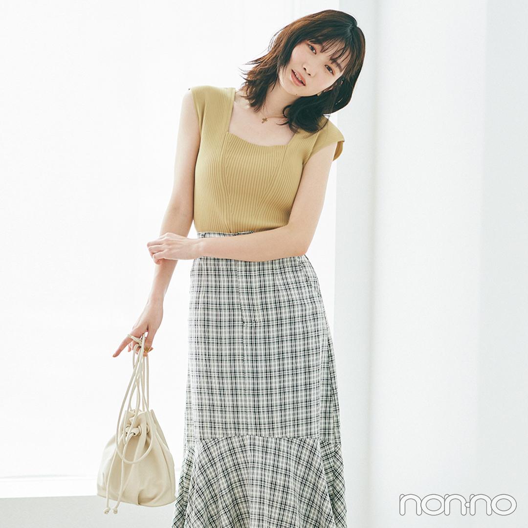 ぴたニット&マーメイドスカートで色っぽさもスタイルアップも同時に♡【大学生の毎日コーデ】