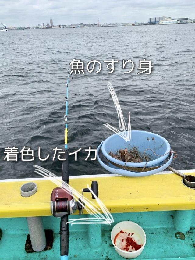 魚のすり身は獲物をおびき寄せるための撒き餌で、針にはイカを付けます。