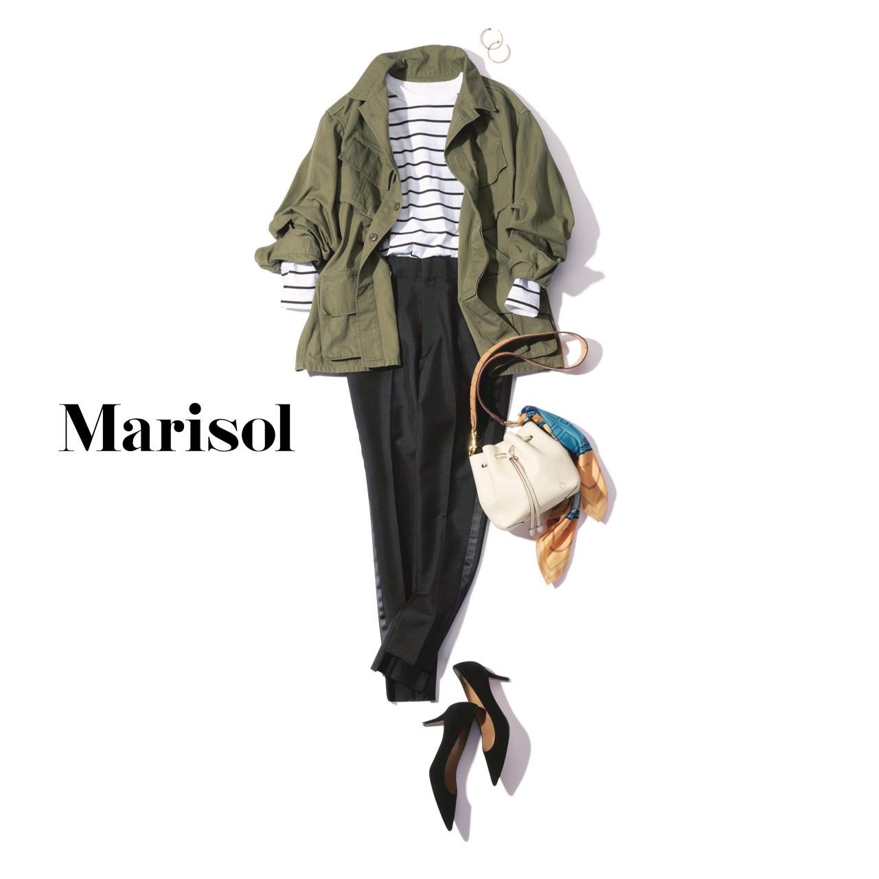 40代ファッション ボーダーTシャツ×ミリタリージャケット×黒パンツコーデ