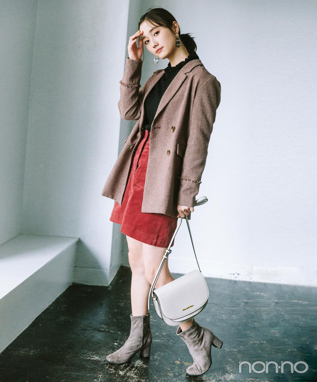 【台形ミニスカートコーデ】秋色ジャケットときれい色ミニスカートでハンサムガーリー